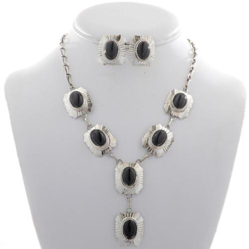 Black Onyx Silver Y Necklace Set 27735