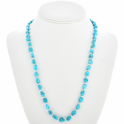 Navajo Turquoise Silver Bead Necklace 24999