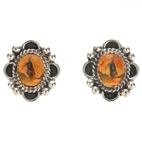 Native American Citrine Silver Post Earrings 29517