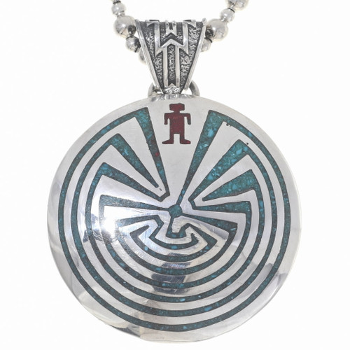Man in the Maze Inlaid Silver Pendant 23942