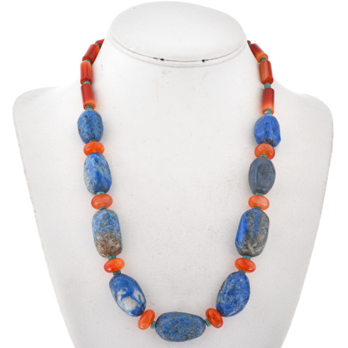 Native American Lapis Chunky Bead Necklace 29533