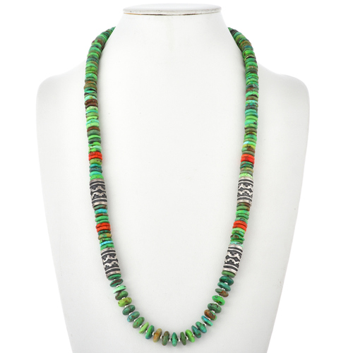 Green Kingman Turquoise Coral Bead Necklace 29587