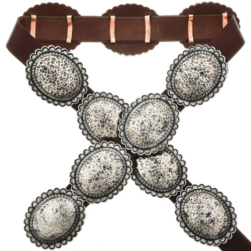 Navajo Hammered Silver Concho Belt 29150