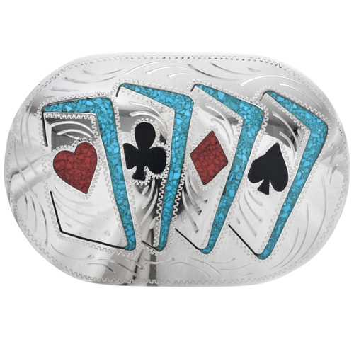 Playing Cards Inlaid Silver Belt Buckle  29781