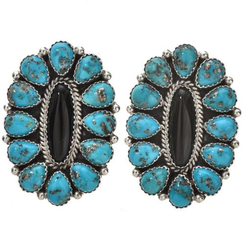 Turquoise Onyx Petit Point Navajo Earrings 29793