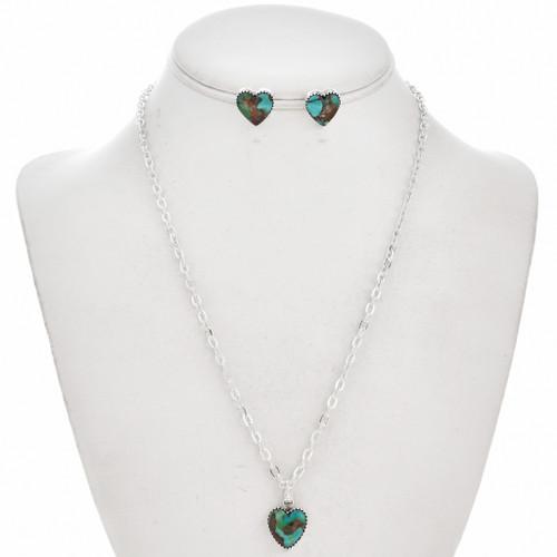 Turquoise Heart Silver Navajo Pendant Set 29815