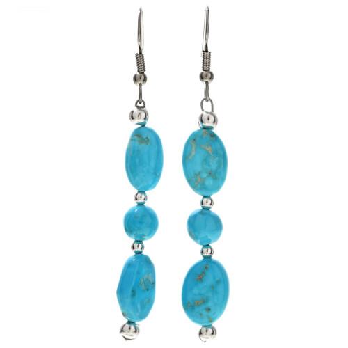 Natural Kingman Turquoise Silver Earrings 29823
