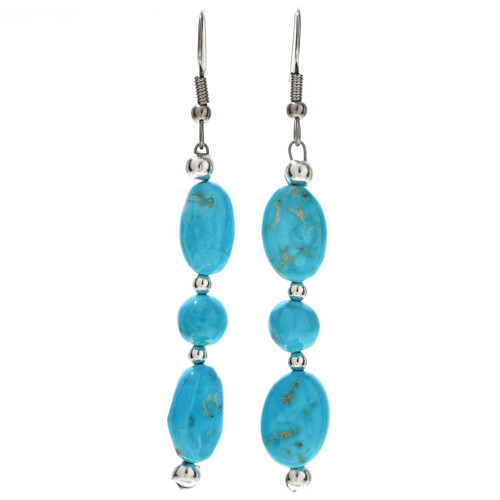 Natural Kingman Turquoise Silver Earrings 29823