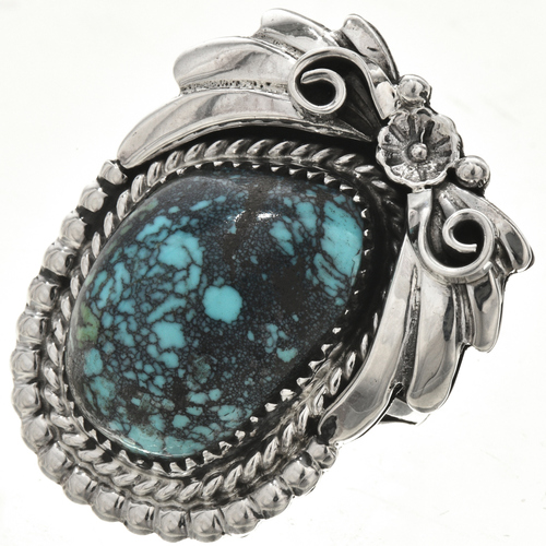 Blue Diamond Turquoise Silver Ladies Pointer Ring 29843