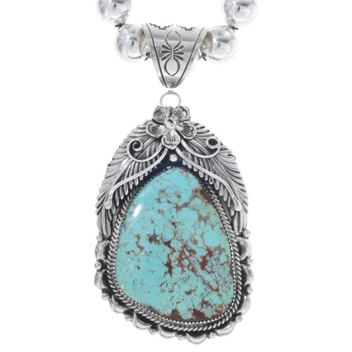 Turquoise Navajo Silver Pendant 29849