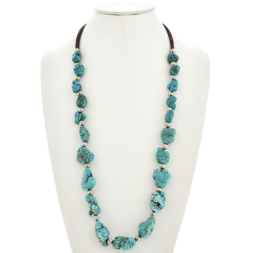 Turquoise Nugget Santo Domingo Style Necklace 29853