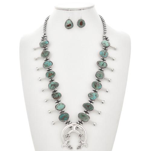 Battle Mountain Turquoise Squash Blossom Necklace Set 29861