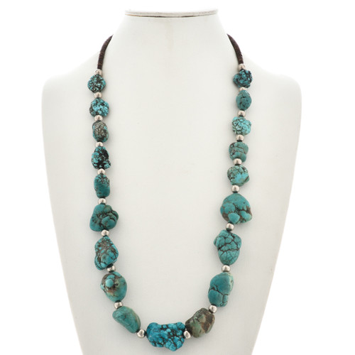 Large Turquoise Nugget Santo Domingo Necklace 29868