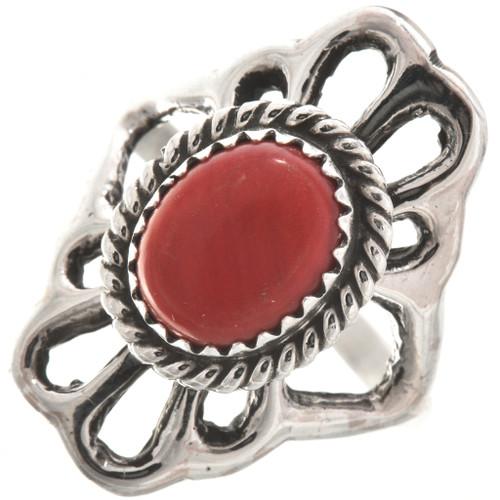 Red Coral Silver Navajo Ladies Ring 29870