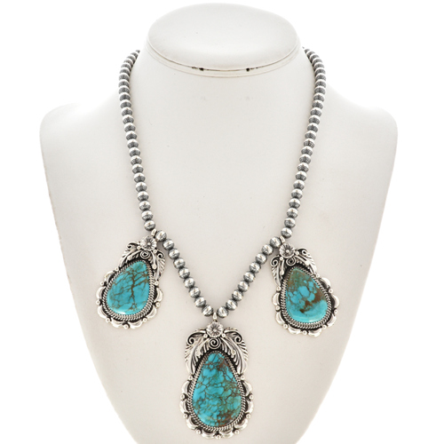 Turquoise Silver Navajo Necklace 29884