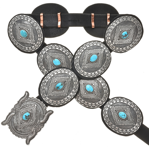 Turquoise Sterling Concho Belt 29898