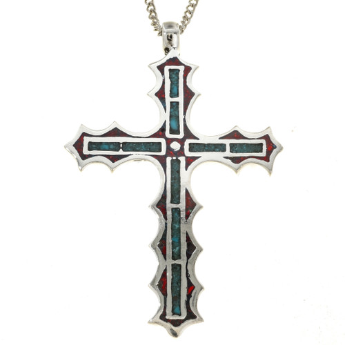 Inlaid Turquoise Coral Cross Pendant 29946