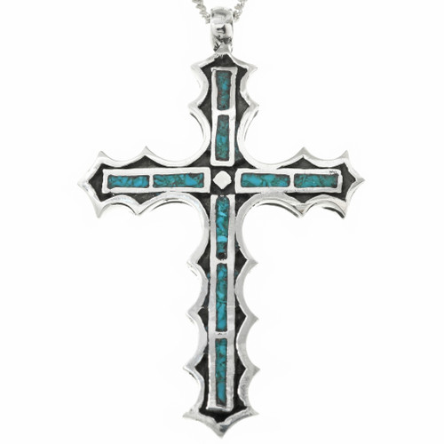 Chip Inlaid Turquoise Cross Pendant 29947