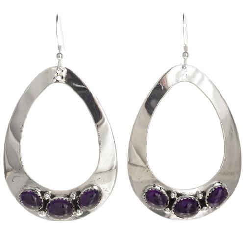 Amethyst Earrings Navajo Silver 29994