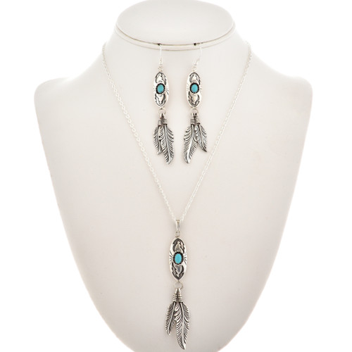 Turquoise Silver Feather Pendant Set 29995