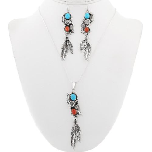 Navajo Turquoise Coral Silver Pendant Set 29997