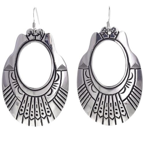 Tommy Rose Singer Overlaid Silver Earrings Navajo 30005
