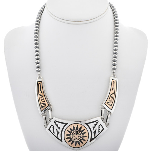 Overlaid Sterling Silver Gold Navajo Necklace 30019