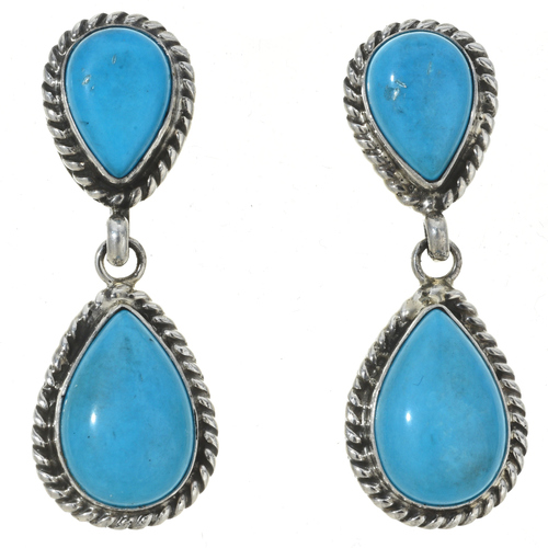 Blue Turquoise Earrings Navajo Made 30037