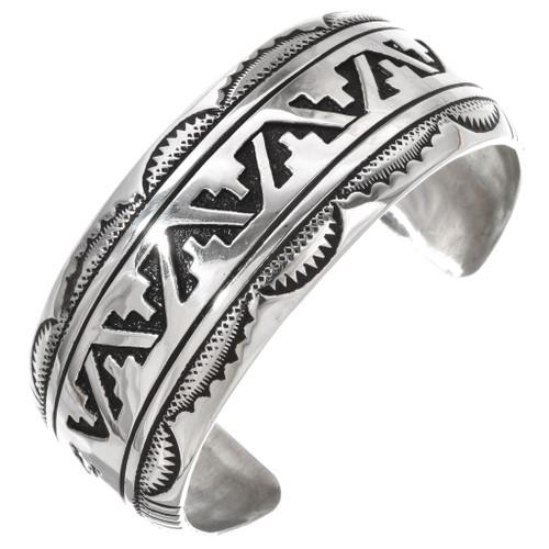 Overlaid Silver Native American Bracelet Cuff 30045