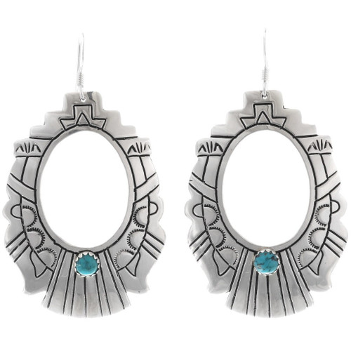 Turquoise Silver Handmade Navajo Earrings 30053