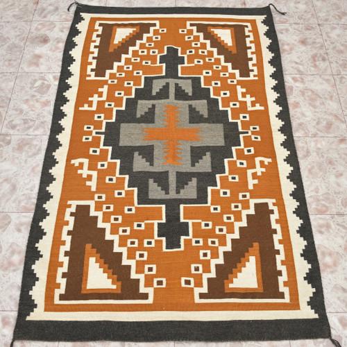 Vintage Navajo Two Grey Hills Wool Rug 30093