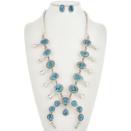 Kingman Turquoise Squash Blossom Necklace Set 30125
