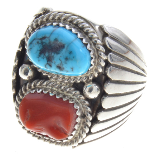 Kingman Turquoise Coral Silver Mens Ring 30129