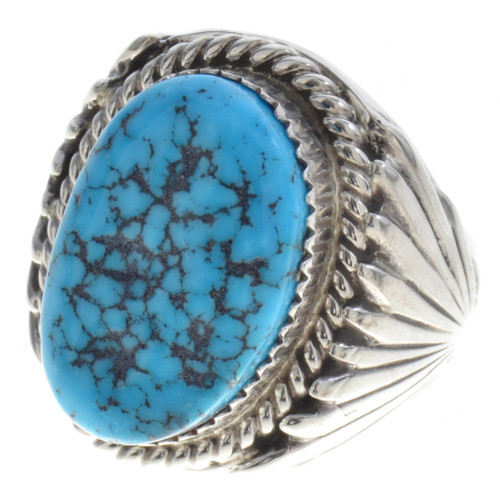 Turquoise Silver Navajo Ring 30132