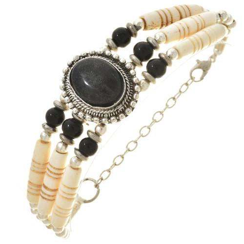 Silver Black Bone Bracelet 30140