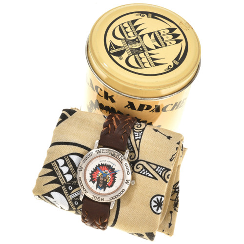 American Indian Themed Leather Band Watch 90997