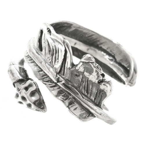 Navajo Silver Bypass Feather Ring 30169