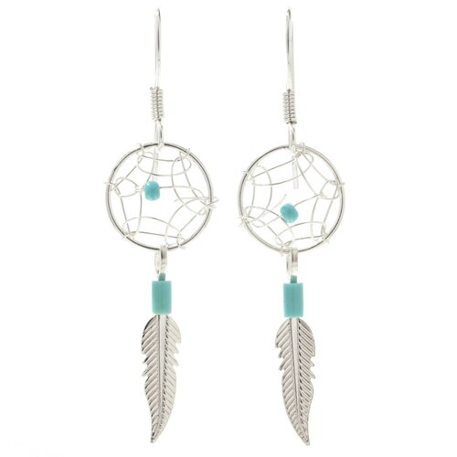 Silver Turquoise Dreamcatcher Earrings 30173