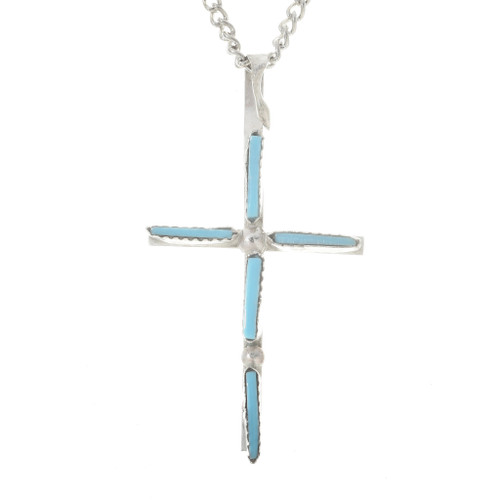 Turquoise Silver Cross Pendant 30180