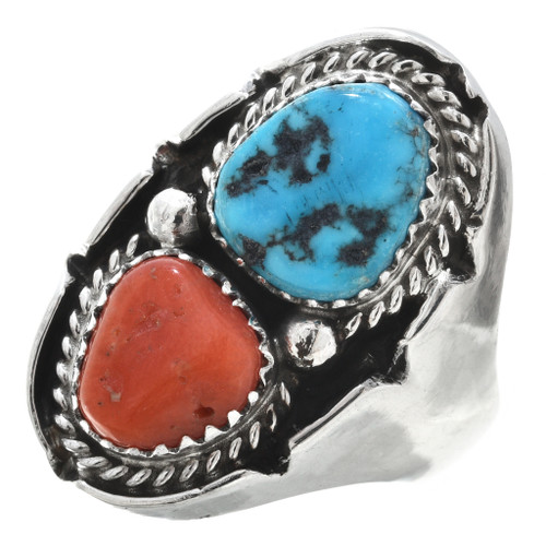 Turquoise Coral Silver Mens Ring 30188