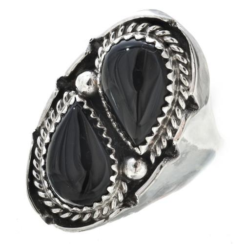 Black Onyx Silver Ring -30189