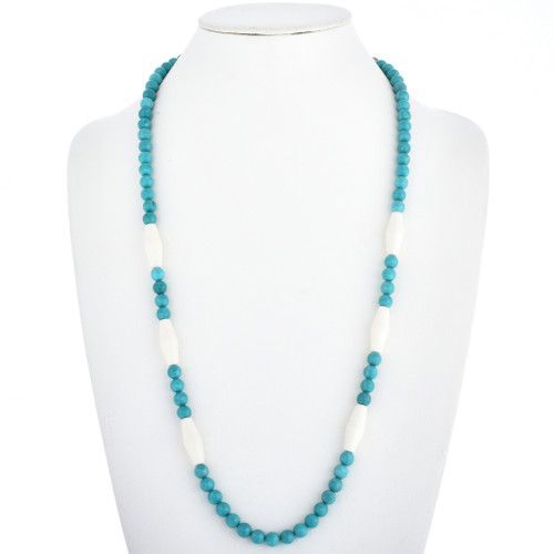 Turquoise Bone Navajo Bead Necklace 30229