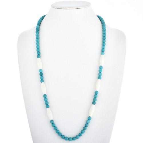Turquoise Bone Navajo Bead Necklace 30229