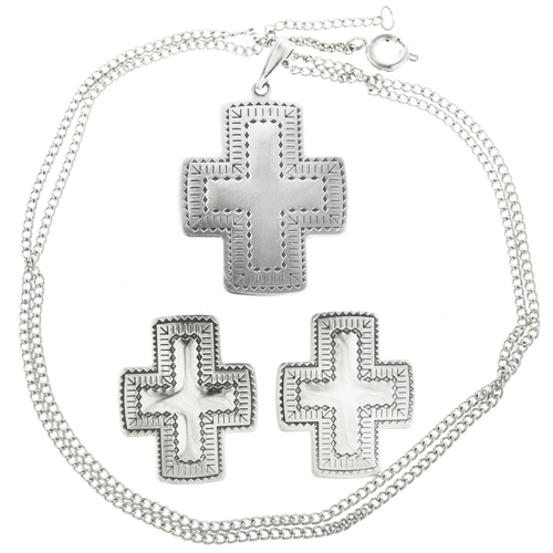 Sterling Silver Cross Pendant Set 30243
