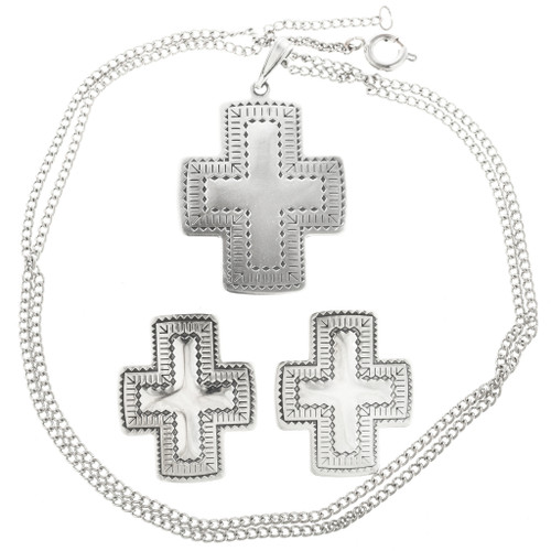 Sterling Silver Cross Pendant Set 30243