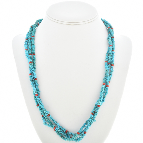 Genuine Turquoise Chip Spiny Oyster Necklace 30269