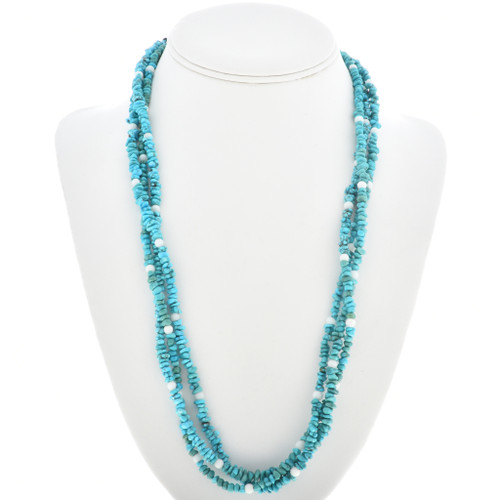 Genuine Turquoise Mother of Pearl Bead Necklace 30270