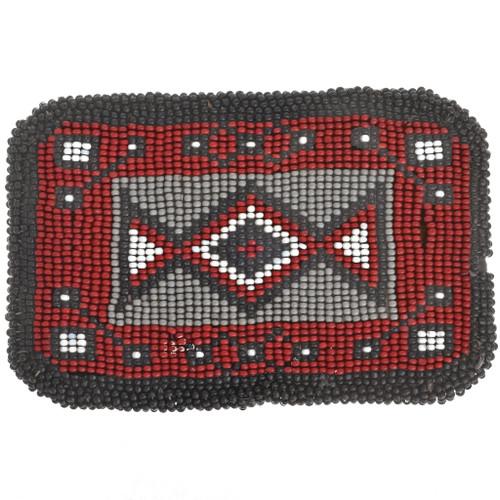 Vintage Seed Bead Belt Buckle 30360