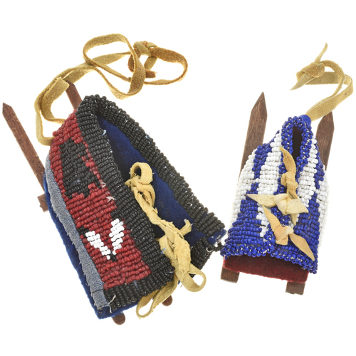 Miniature Apache Cradleboard Ornament Seed Beaded Southwest Decor 30396