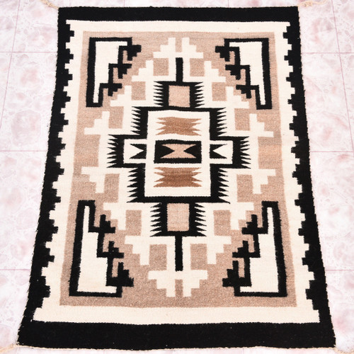 Vintage Navajo Two Grey Hills Wool Rug 30407